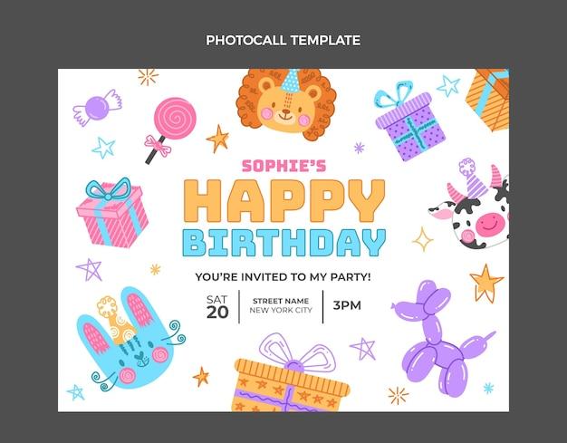 Hand drawn childlike birthday photocall template