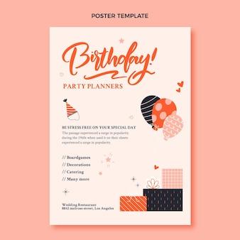 Hand drawn childlike birthday poster template