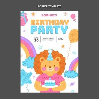 Hand drawn childlike birthday poster