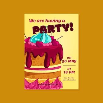 손으로 그린 어린이 생일 포스터