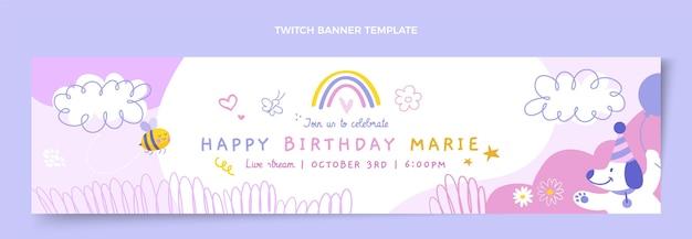 Banner di contrazione di compleanno infantile disegnato a mano