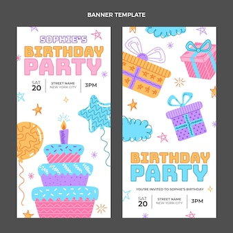 Hand drawn childlike birthday vertical banners
