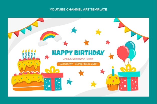Hand drawn childlike birthday youtube channel