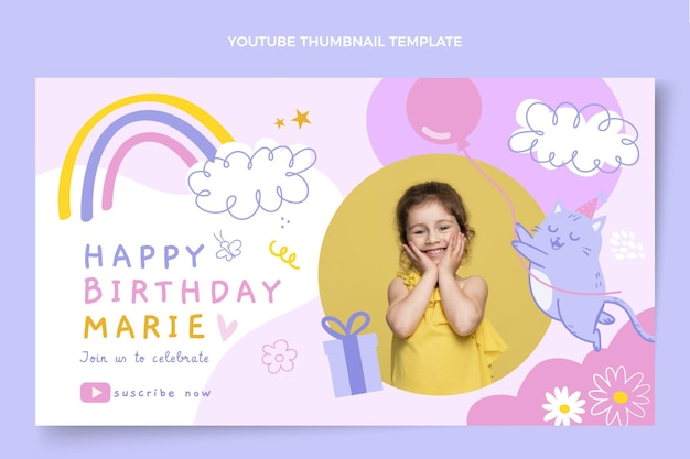 手描きの子供のような誕生日のyoutubeサムネイル