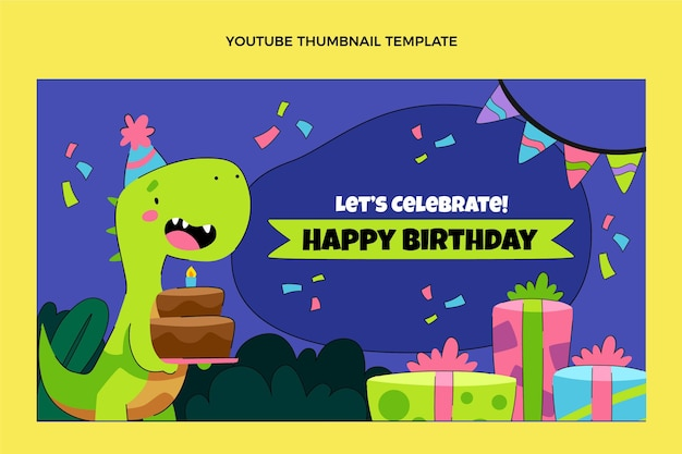 Hand drawn childlike birthday youtube thumbnail
