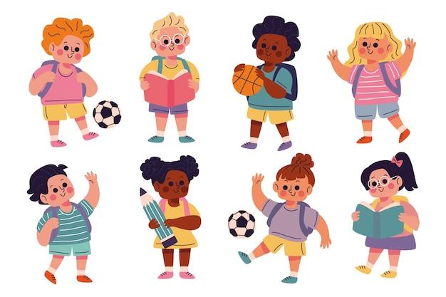 Bambini disegnati a mano di nuovo alla collezione di scuola