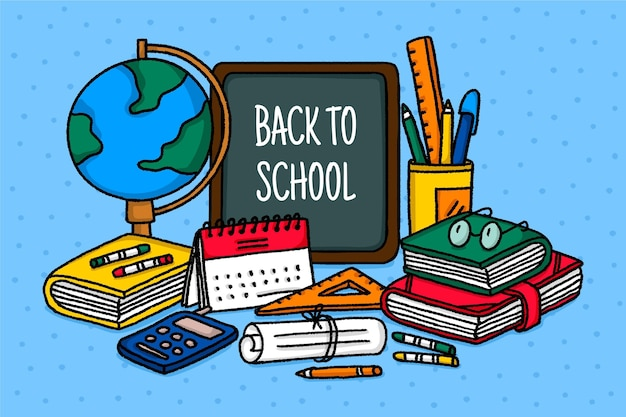 Hand drawn children back to school concept