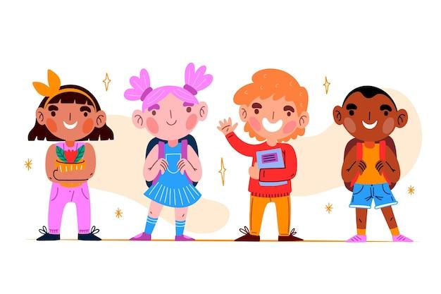 Bambini disegnati a mano di nuovo al concetto di scuola