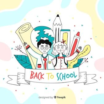 Hand drawn children back to school