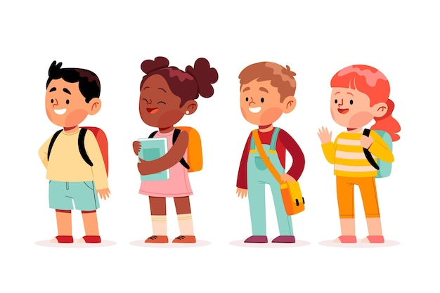 Hand drawn children back to school Free Vector