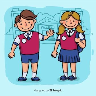 Рисованной детей обратно в школьную коллекцию