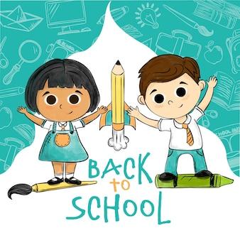 手描きの子供たちが学校のコンセプトに戻る