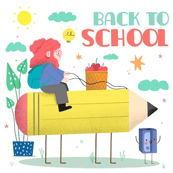 手描きの子供たちが学校のイラストに戻る