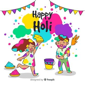 Hand drawn children holi festival background