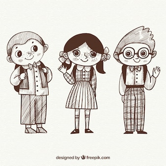 Hand drawn children ready to go back to school