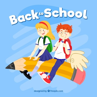 学校に戻る準備ができた手描きの子供たち