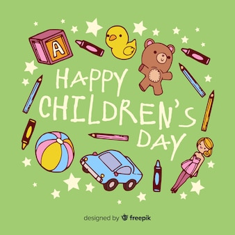 Hand drawn children's day toys background