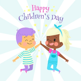 Hand drawn children's day with boy and girl
