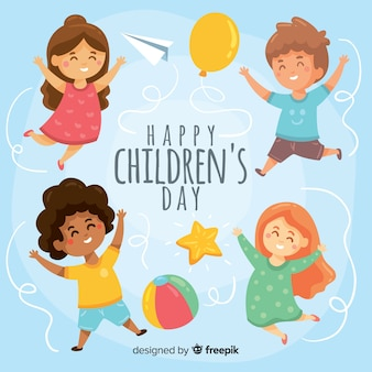Hand drawn childrens day background