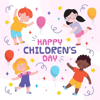 Hand drawn childrens day cellebration