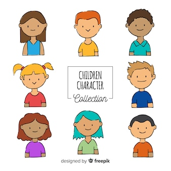 Hand drawn childrens day character collection