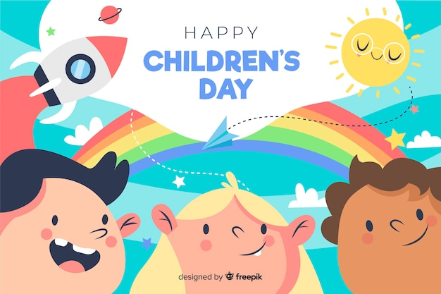 Hand-drawn childrens day illustration