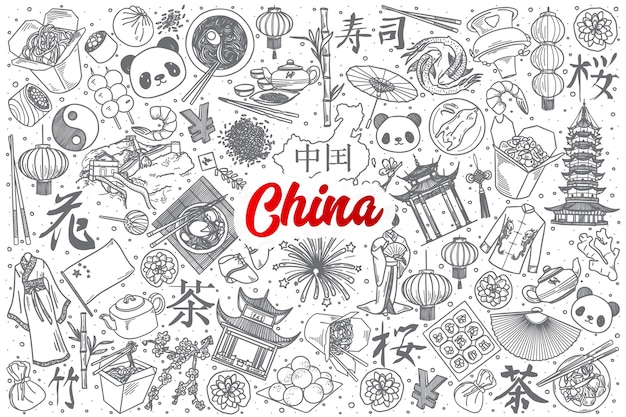 Hand drawn china doodle set background with red lettering