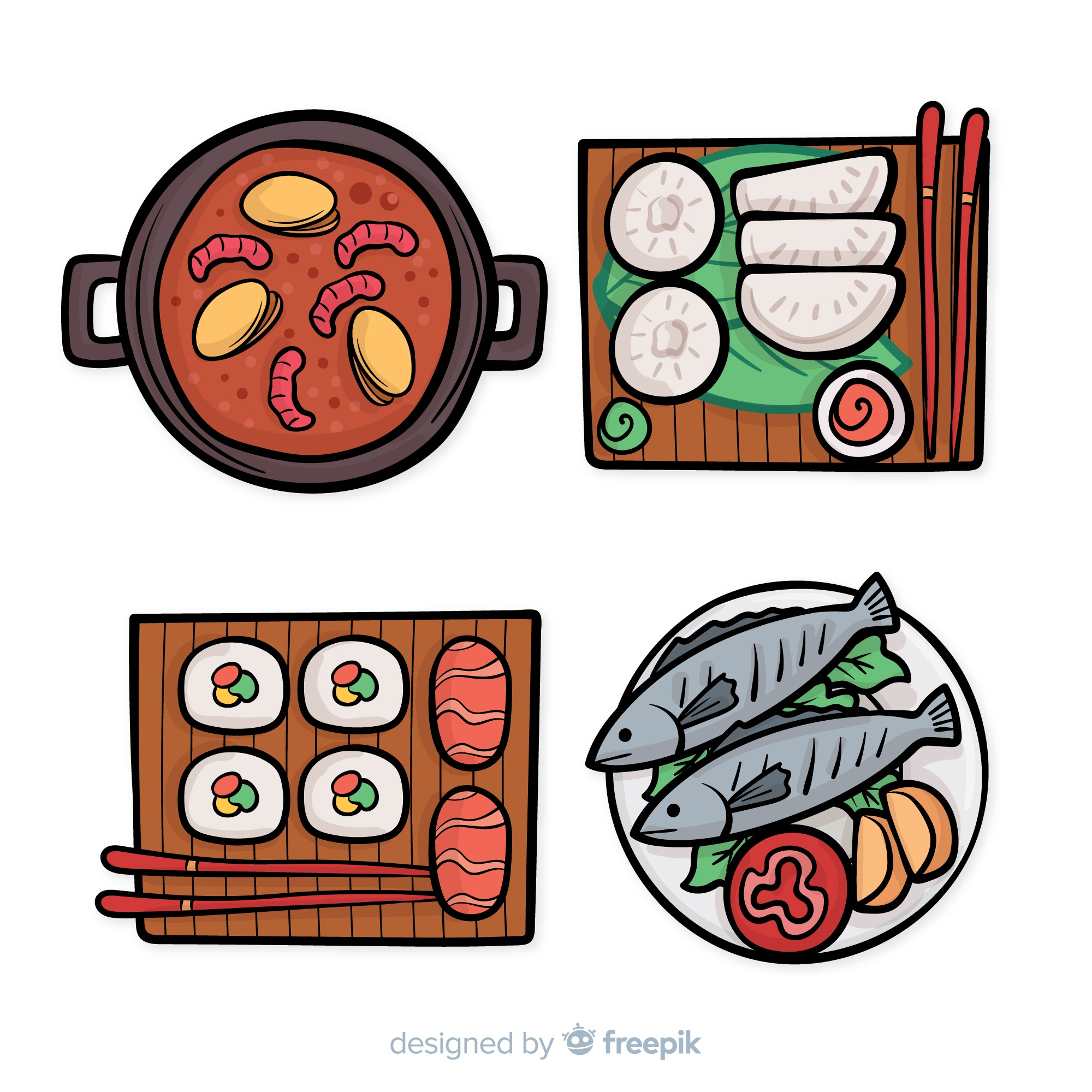 Hand drawn chinese food dishes collection