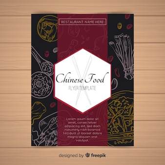 Hand drawn chinese food flyer template