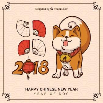 Hand drawn chinese new year background
