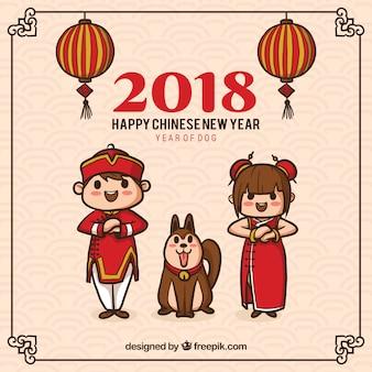 Ручной обращается Китайский фон нового года