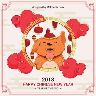 手描きの中国の新年の背景