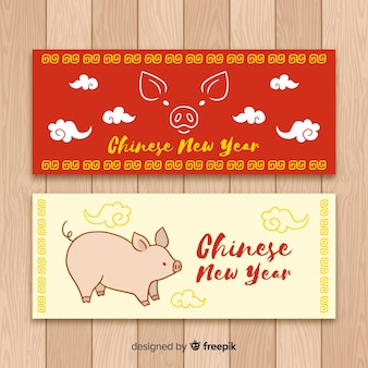 Hand drawn chinese new year banner