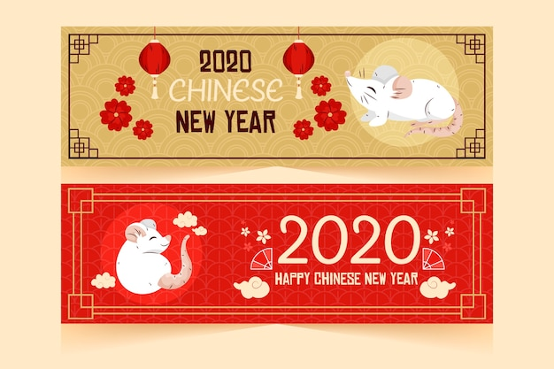 Hand drawn chinese new year banners template