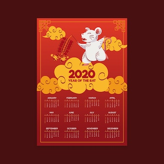 Hand drawn chinese new year calendar with gradient