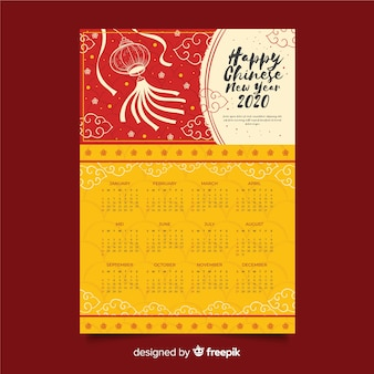 Hand drawn chinese new year calendar