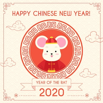 Hand drawn chinese new year concept
