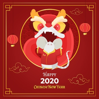 手描きの中国の新年のコンセプト