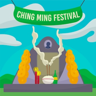 Illustrazione disegnata a mano di celebrazione del festival di ching ming