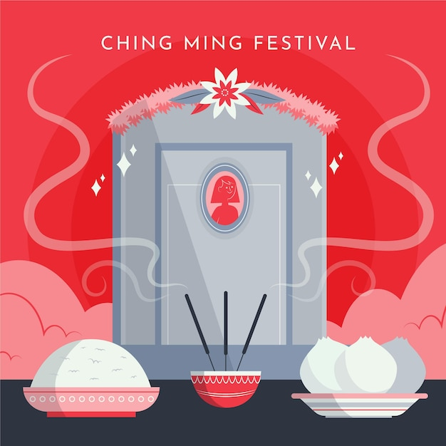 Hand drawn ching ming festival celebration illustration