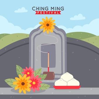 Hand-drawn ching ming festival illustration