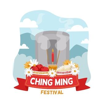 Нарисованная рукой иллюстрация фестиваля ching ming