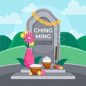 Illustrazione disegnata a mano del festival di ching ming