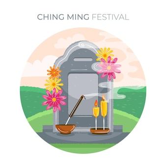 Hand drawn ching ming festival illustration