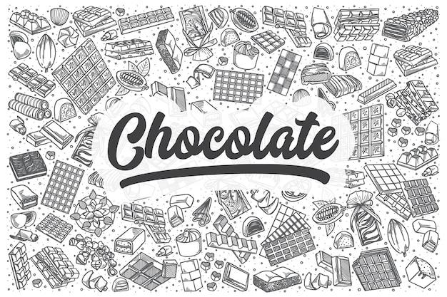 Набор рисованной шоколадный каракули. надпись - шоколад