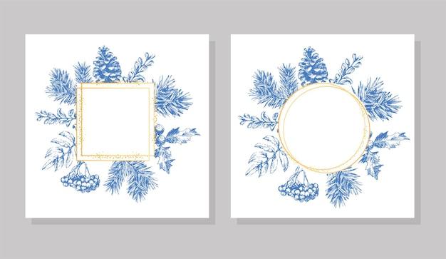 Ручной обращается рождество и новый год пригласительный билет. рисованной векторные иллюстрации ретро венок на светлом фоне. зимний праздничный сборник