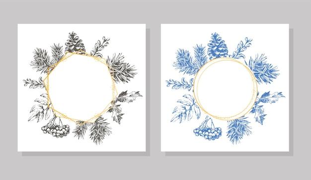 Ручной обращается рождество и новый год пригласительный билет рисованной векторная иллюстрация ретро венок на ...