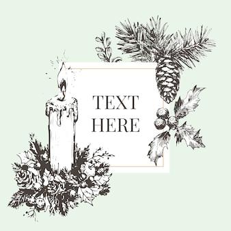 Ручной обращается рождество и новый год пригласительный билет рисованной векторные иллюстрации ретро венок
