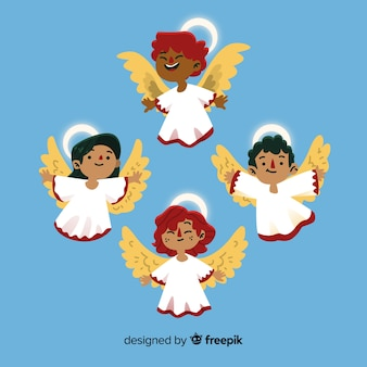 Hand drawn christmas angel collection