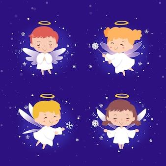 Коллекция рисованной рождественский ангел